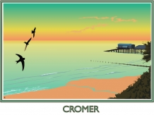 Cromer,railway posters, bryan harford, Norfolk, swifts