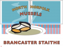 Mussels, North Norfolk, Brancaster staithe, railway posters, Bryan Harford