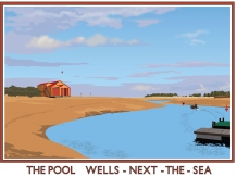wells, the pool, lifeboat station, norfolk, railway posters, posters,bryan harford