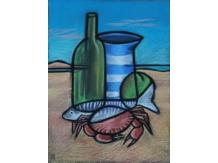 still life, norfolk beaches, pastels, crabs, Mackerel