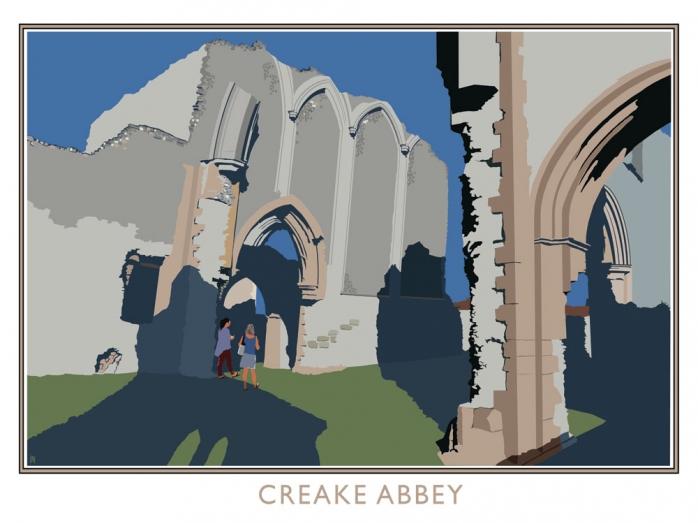 creake abbey, posters,railway posters, norfolk, bryan harford