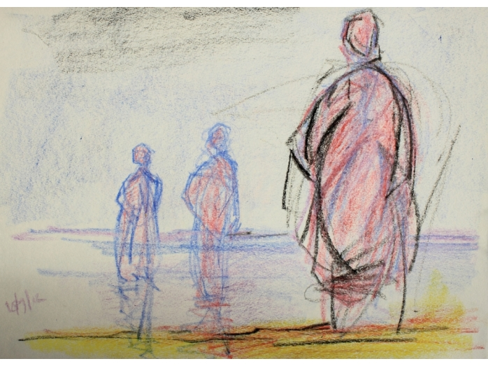 Wax crayon sketch of figures in sea, Brancaster part 2