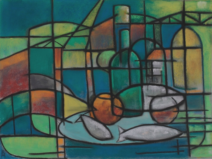 Nocturne, pastels, Bryan Harford, cubism